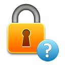 Icon of padlock with a question mark