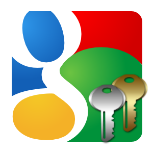 Google logo square icon with two keys overlayed