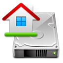 Icon of computer hard drive with graphic overlay of a home
