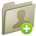 Icon of folder with avatar and plus sign